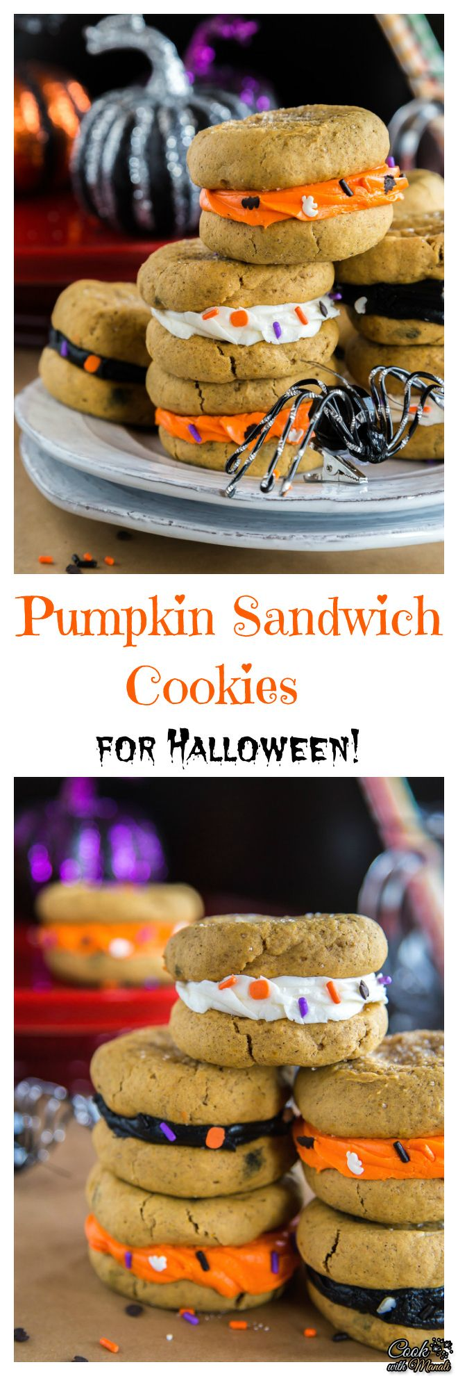 Melt-in-your-mouth Pumpkin Sandwich Cookies with spooky sprinkles are perfect for Halloween Entertaining! Find the recipe on www.cookwithmanali.com