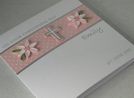 Handmade Christening card personalized paper por PaperDaisyCards, £7.20