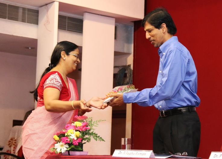 We welcome you Sir! Assistant Professor Bhawana Jain welcoming our beloved Director Dr. R. Raghu Raman to the inauguration.