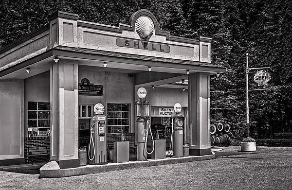 1930s Shell Gas Station BW By LeeAnn McLaneGoetz McLaneGoetzStudioLLC.com  1930s Shell Gas Station with leaded fuel.  Gilmore Car Museum, 6865 W Hickory Rd, Hickory Corners, MI 49060