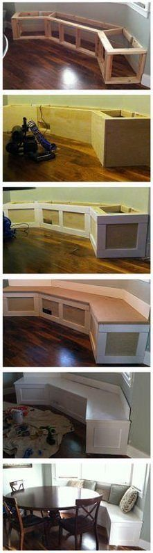 This is a great idea for a small breakfast nook! Would look great on hardwood floor. #home