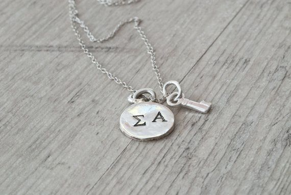 Personalized Initial Necklace, Hand Stamped Sterling Silver, Key Charm, Greek Letter Initial Jewelry, Personalized Gift, Monogram Necklace