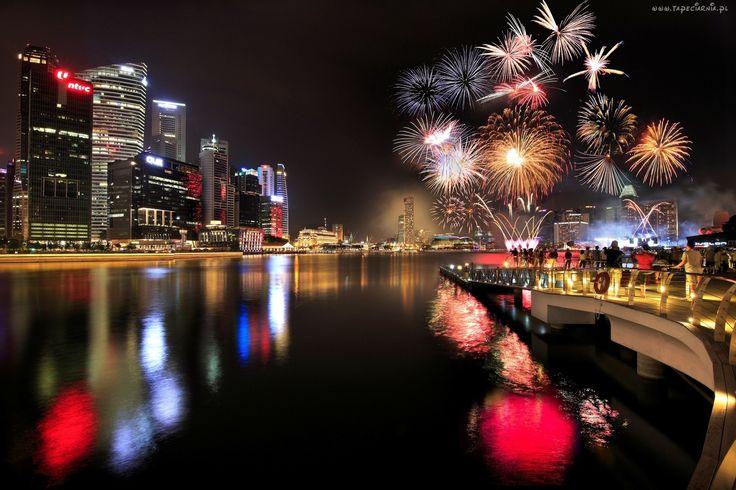 Singapur, Miasto, Noc, Drapacze Chmur, Zatoka, Fajerwerki
