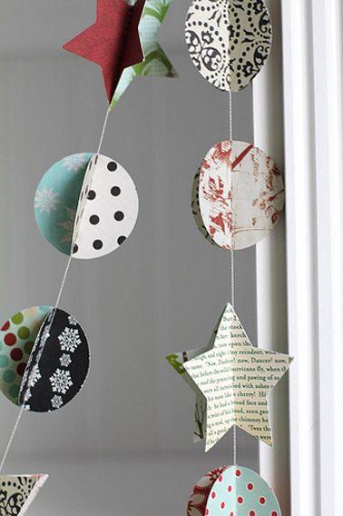 Avec cette guirlande faite avec des chutes de papier peint ou du papier journal tout est permis pour imaginer une déco de Noël originale et créative.