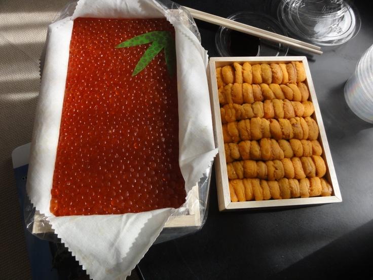 Salmon roe and sea urchin