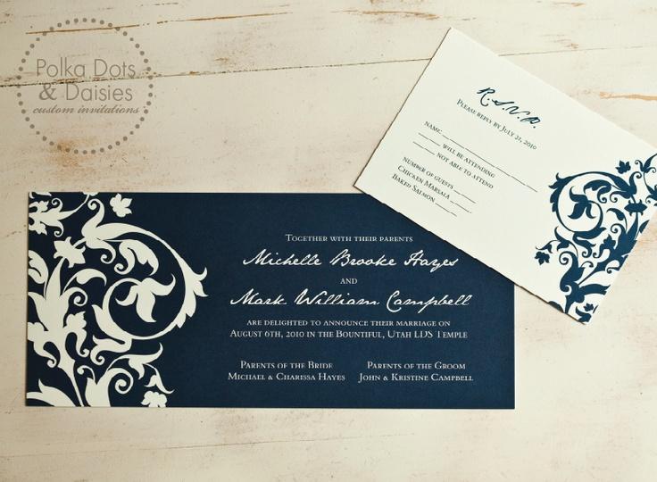 Wedding Invitation Thoughts: Classy. Navy & Cream Wedding Invitation.