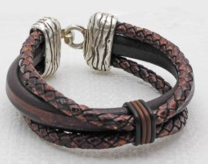 Mens leather bracelet-patterns and ideas from Antelope Beads. I love the leather bracelet designs for men they have it's hard to find ideas for our guys:)
