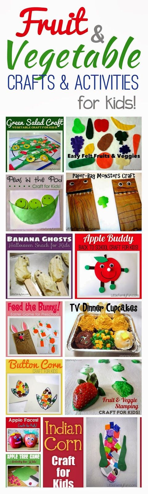 Fruit & Veggie crafts & activities. Fun way to teach kids about eating healthy!