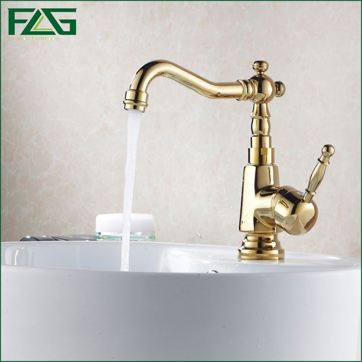 (71.25$)  Watch more here  - FLG Scandinavian -style Bath Mat Gold Taps Single Lever Deck Mounted Sphere Bathroom Single Faucets Basin Robinet Water Tap M088
