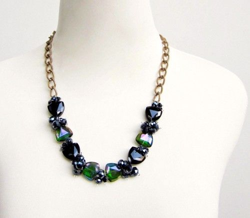 GREEN BLACK CRYSTAL GLASS FASHION STATEMENT NECKLACE by Eji Jewelry #fashionstatement #necklace #statementnecklace #glassjewelry #jewelry #jewellery #fashion #necklaces #accessories #gift #jewelrystore #handmadenecklace #handmadejewelry #sellingjewelry #jewelryshop #jewelrydesigner #accessoriesdesigner #designer #fashionaccessories #fashionblog #fashionjewellery #jewellerydesigner