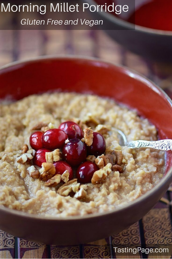 Morning Millet Porridge - a healthy breakfast recipe to make ahead and warm up in the morning with your favorite fruit and nut. Gluten free, dairy free and vegan | TastingPage.com