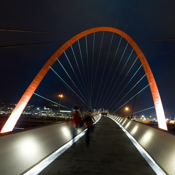 The footbridge and the arch built for the Winter Olympic Games, Turin 2006