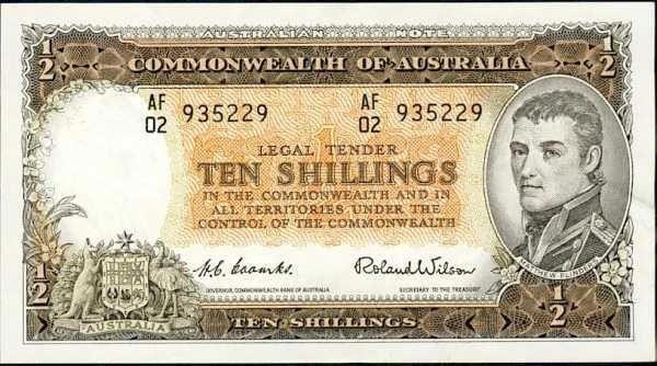 Australian pre-decimal 10/- note - Front.