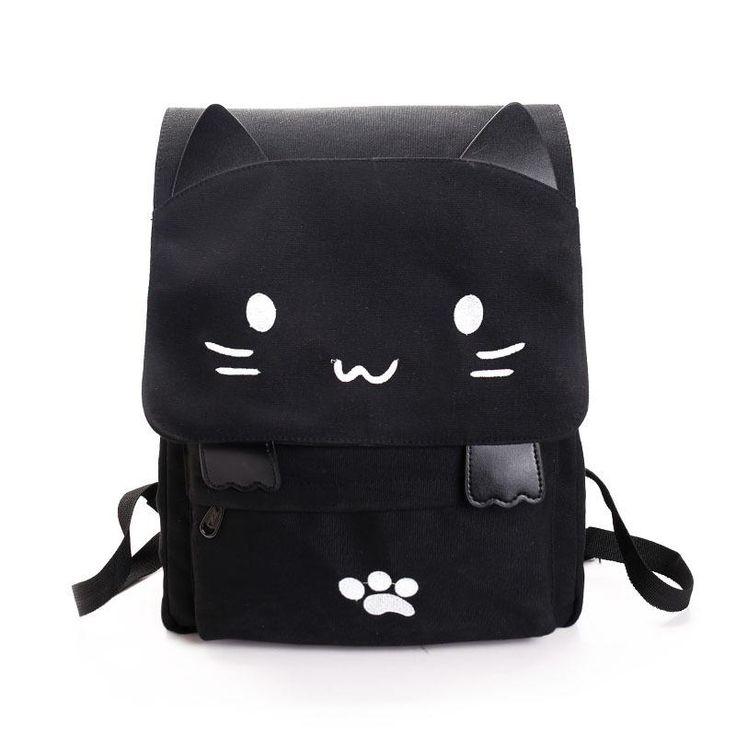 2017 New Casual Women Backpack Canvas School Bags for Girls Cute Cat Book Bag Printing Back Pack Big Schoolbags Black SchoolBags