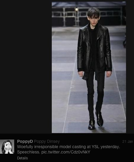 Lesley Kinzel asks, do we have any right to body-police (and therefore dehumanize) ultra-thin models? Can we be critical of the fashion industry's exclusive use of ultra-thin, without being critical of the individual models?
