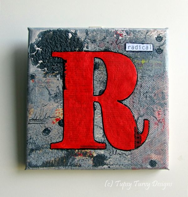 Grey and red monogram wall art canvas - mixed media, type, letter, R