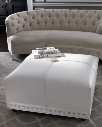 Haute House Coco White Leather Ottoman @ Home Improvement Ideas.  I luv this