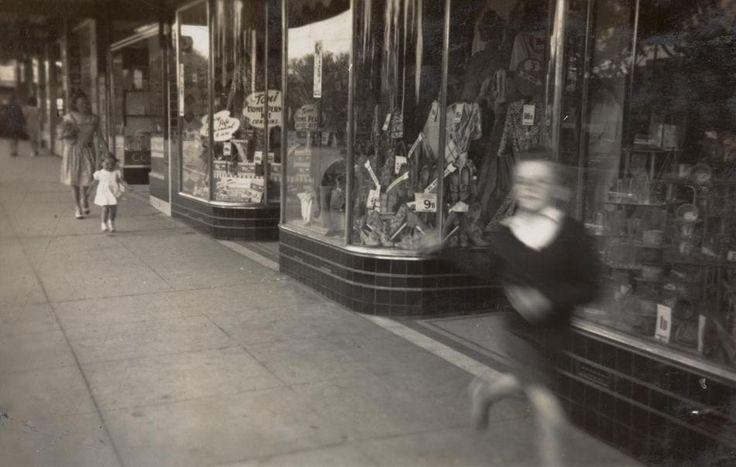 Boy Running past Shops, Woman & Girl Walking Behind, Moonee Ponds, Melbourne Victoria Australia 1949