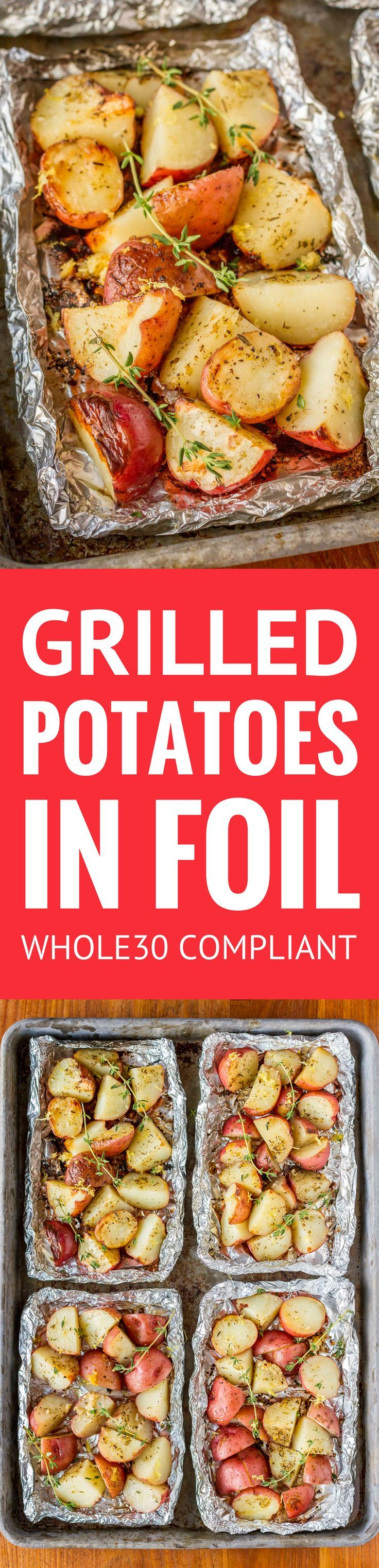 Grilled Potatoes In Foil -- with just 5 ingredients, these grilled potatoes in foil packets have everything going for them: quick, easy, delicious, and virtually mess-free... AND they're Whole30 compliant! | whole30 potatoes | potatoes in foil in oven | p