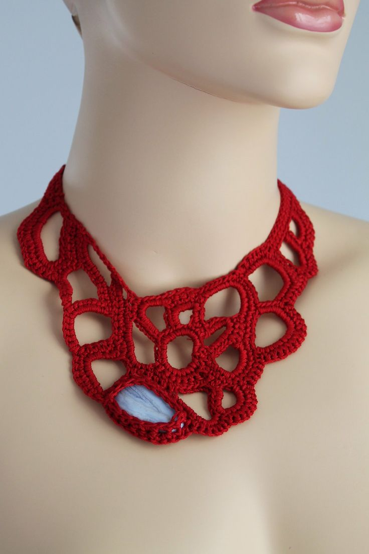 CROCHET NECKLACE | Crimson Crochet Necklace - Crochet Jewelry - Summer Fashion - Blue ...