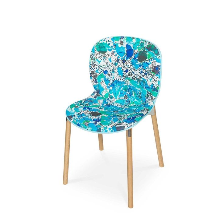 RBM Noor chair x La Cueillette in Aqua |Light wood by Claire de Quénetain | FEATHR™    Featuring La Cueillette fabric, a stunning and beautiful modern floral fabric, that brings the vibrancy of the French harvest to your home.