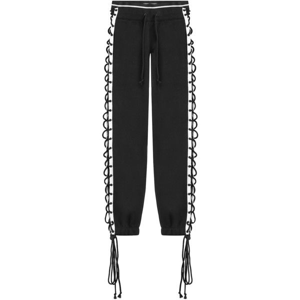 Fenty x Puma by Rihanna Cotton Pants (198 AUD) ❤ liked on Polyvore featuring pants, black, lace up pants, relaxed pants, tapered leg pants, cotton pants and cuffed pants