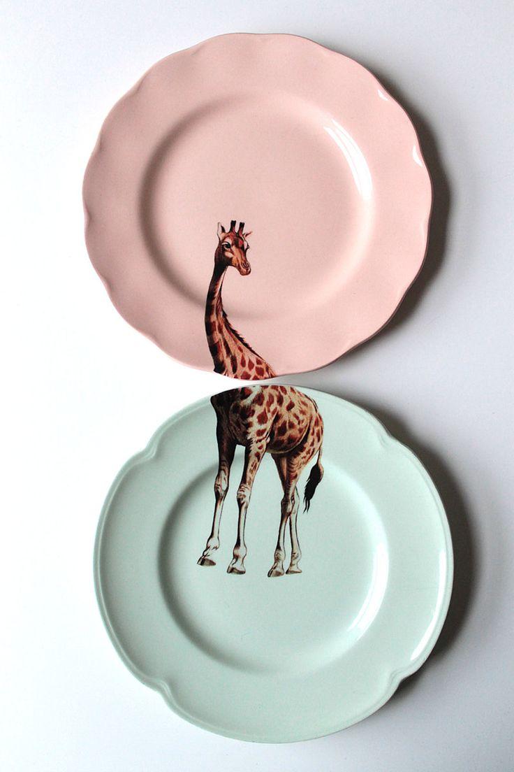 giraffe dessert plates