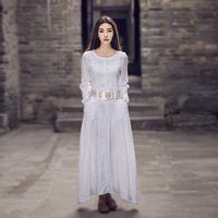 2017 Новая мода натуральный хлопок белье платья женские длинный рукав повседневная белье dress плюс размер макси полный dress