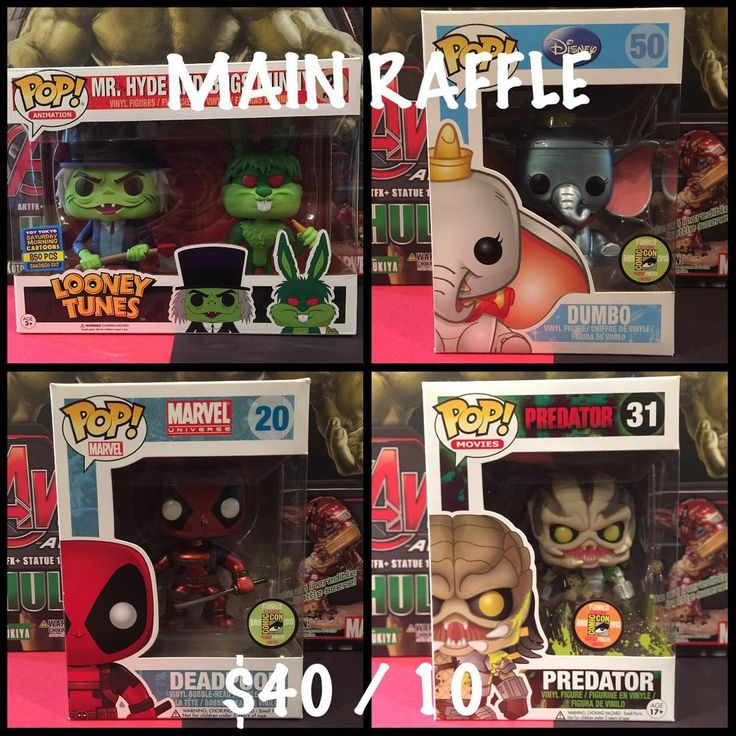 "RAFFLE TIME Winner gets to choose between Hyde/Bugs Bunny Metallic Dumbo Metallic Deadpool or Bloody Predator. $40 per entry 10 spots (no max per person)  Pics available if needed.  1 Comment to claim a number 2 Send $40 to Paypal (kroyxtian@yahoo.com) - Friends and Families Pls! Notes can say Donated Food or Movie 3 Comment DONE"" after payment 4 When all the spots are filled I'll use a Random Generator website and post the video to see who's the lucky winner!!! 5 Drawing will be LIVE via IG…"