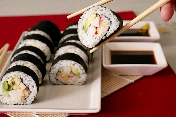 homemade sushi- california rolls w/ crab    recipe and how to video: http://www.singforyoursupperblog.com/category/asian/