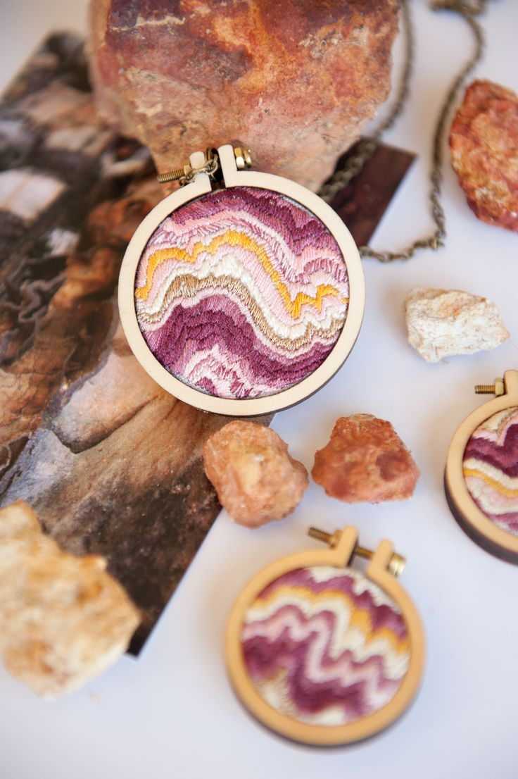 Silk embroideries of sandstone –read the full story here http://paperyarnthread.com/index.php/sandstone-embroidery/ They're also for sale on my Etsy shop https://www.etsy.com/shop/PaperYarnThreadShop?ref=hdr_shop_menu