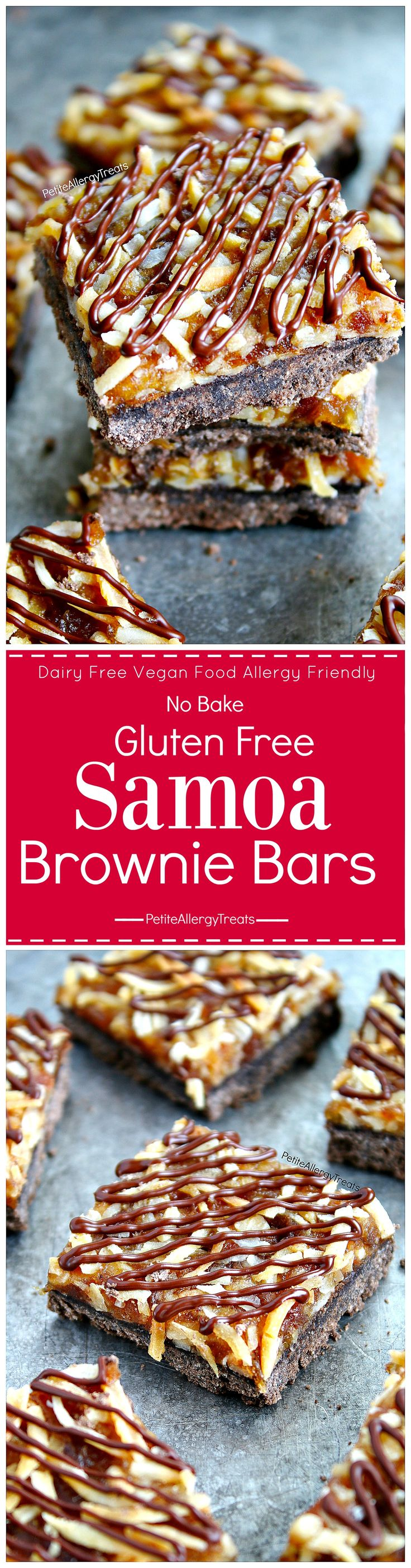 Gluten Free Samoa Brownie Bars Recipe (Vegan dairy free)- No bake Girl Scout toasted coconut caramel brownie bars! Food allergy friendly!