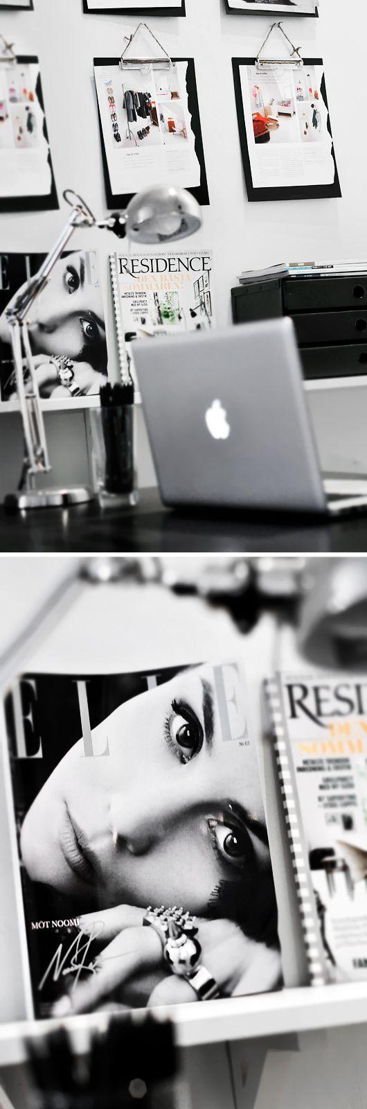 Indretning af kontor, hjemmekontor, kontor, kontorindretning, inspiration, visionboard, inspirationsvæg, moodboard, feng shui http://mindfulstyling.dk/indretning-der-oger-effektiviteten-pa-arbejdspladsen/