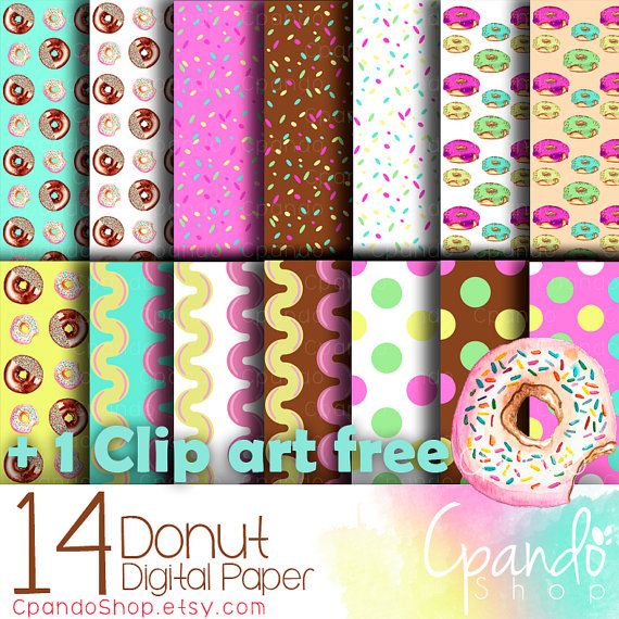 Donut 14 Digital paper (jpg 12*12 in and a free clip art) Donut wallpaper, donut background, fun wallpaper, scrapbook digital paper, poster