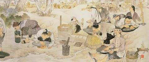 ARTWORK: IMMIGRANTS ON THE GOLDFIELDS: Chinese immigrants referred to the Australian gold fields as 'Xin Jin Shan', or the New Gold Mountain.