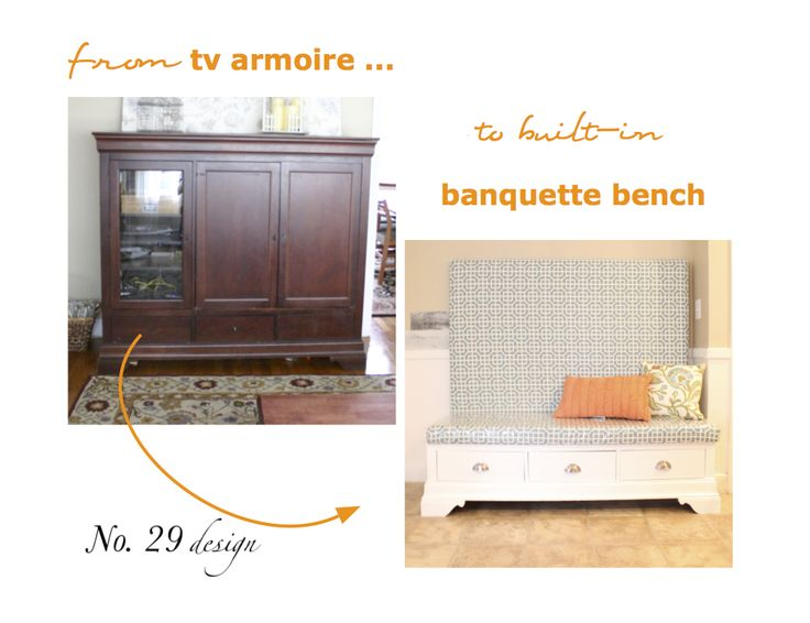 from tv armoire to banquette bench...