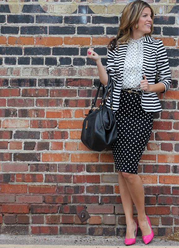 Polka dots x2 and stripes (pattern mixing)