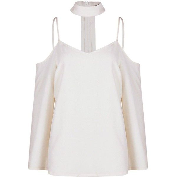 Boohoo Maddy Open Shoulder Choker Neck Strap Blouse ($22) ❤ liked on Polyvore featuring tops, blouses, off the shoulder crop top, white off the shoulder blouse, polka dot blouse, white cami and white off shoulder blouse