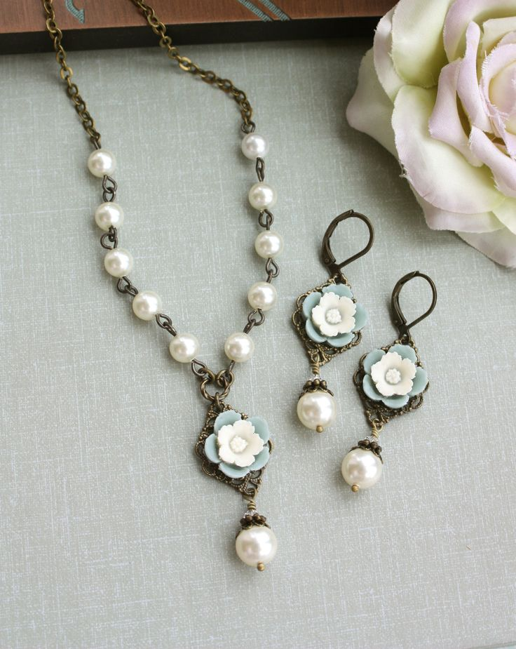Necklace and Earring Set. A Vintage Style Soft Grey Blue, Ivory Pansy Flower,