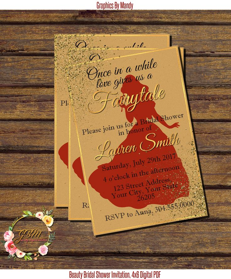 bridal shower invitations registry etiquette%0A Beauty and the Beast inspired Bridal Shower invitation   x   PDF file         Check
