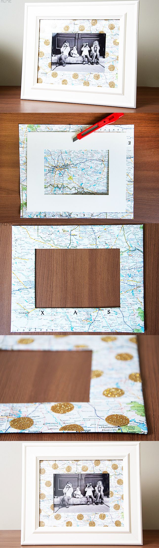 Make a photo mat out of a favorite map! Embellish with gold polka-dots, or memorabilia from your trip!