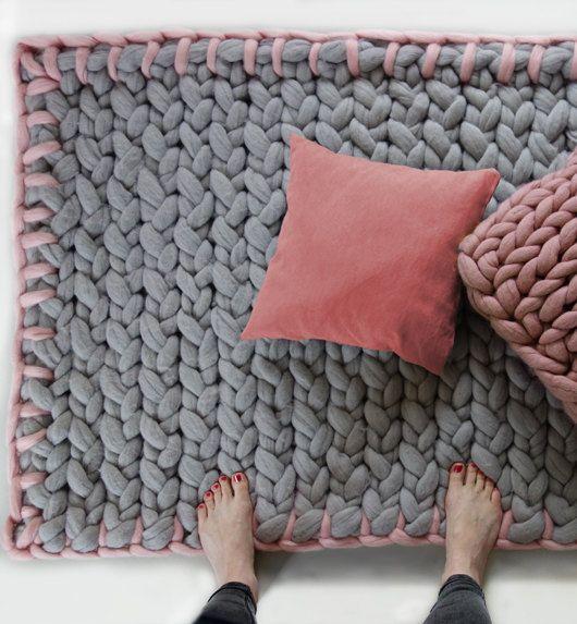 MERINO YARN RUG chunky knitted rug kids rug kids by PANAPUFA