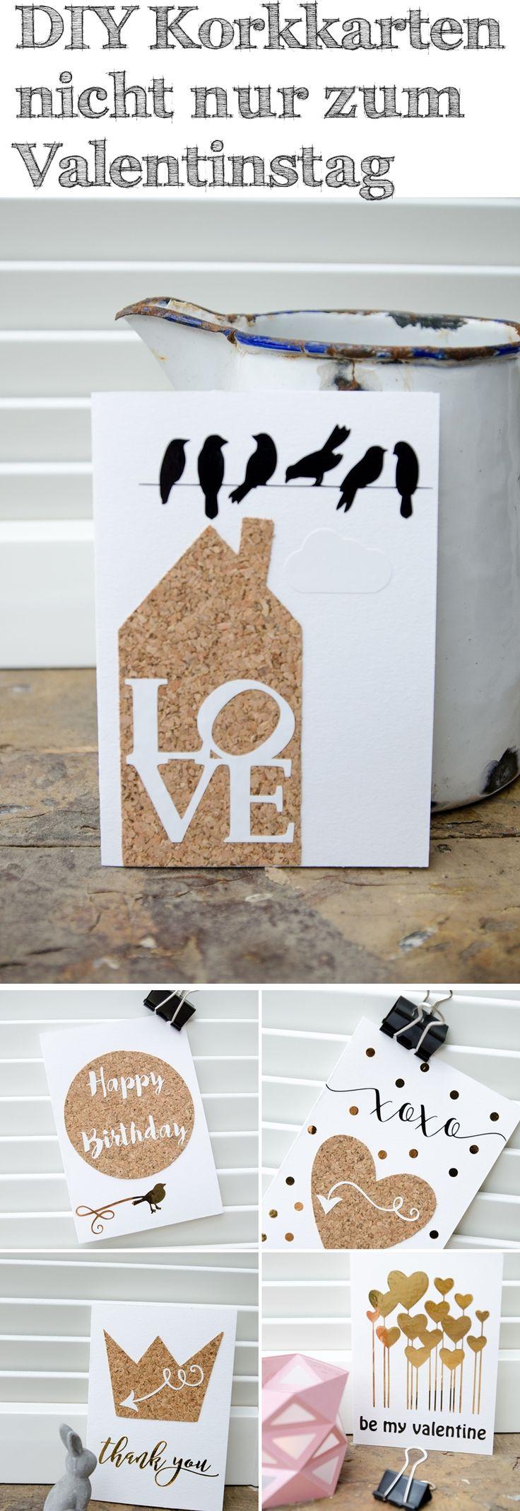 DIY Korkkarten nicht nur zum Valentinstag #diy #karten #papier #plotter #silhouettecameo #kork #Valentinstag