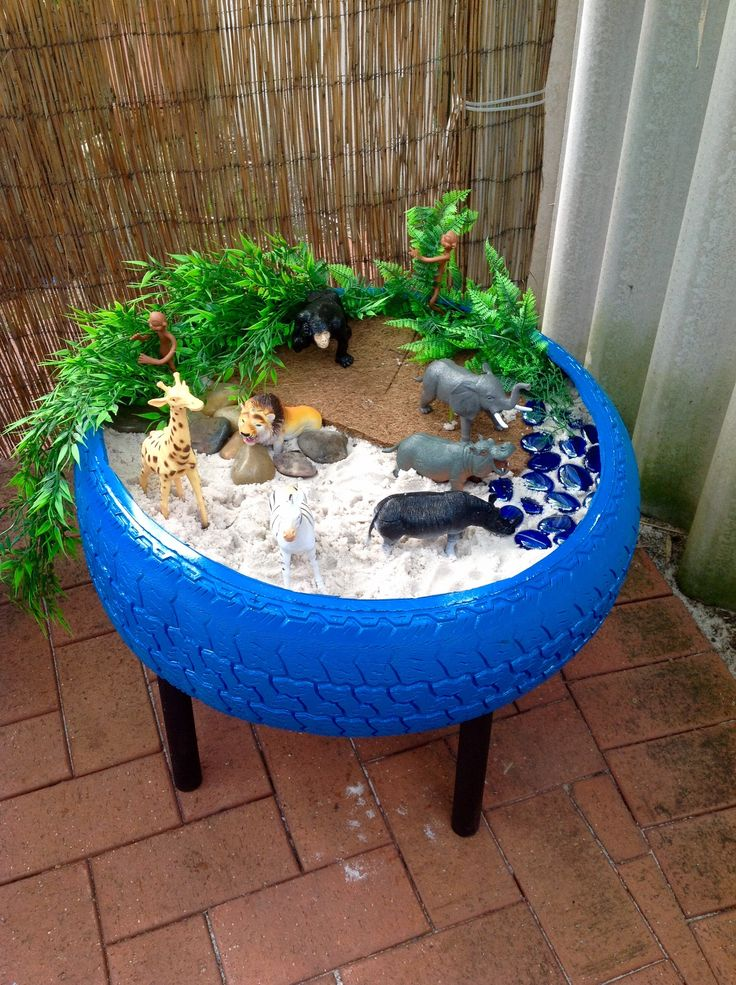 Jungle for our animal friends. Tyre table purchased from Sustainable Fun.
