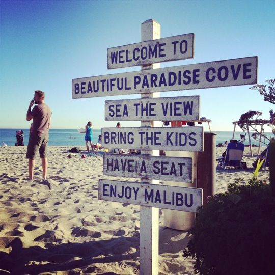 Iconic Malibu Locations: Paradise Cove Beach Cafe. The quintessential California beach dining experience where you can eat with your toes in the sand and more often than not brush elbows with some random celebrity.