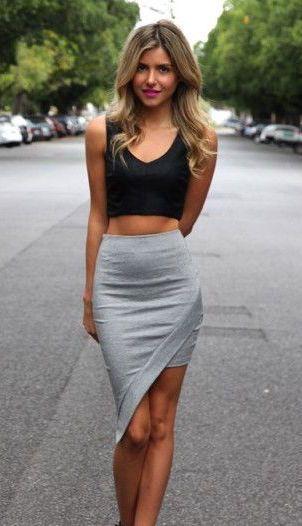 street style asymmetrical skirt crop top