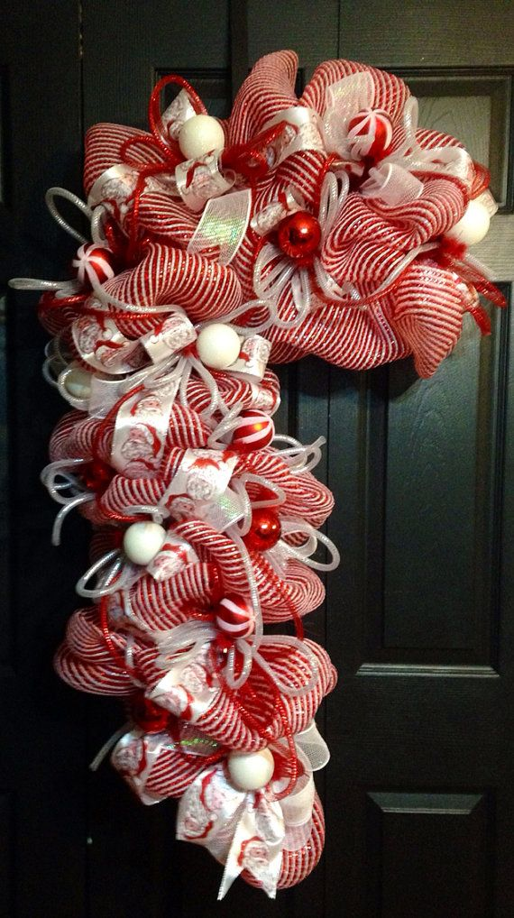 Deco Mesh Candy Cane wreath  on Etsy, $90.00