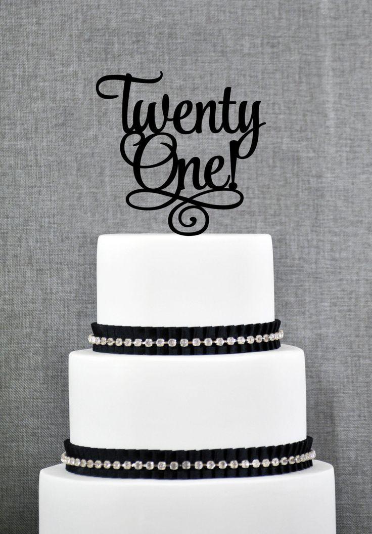 New to ChicagoFactory on Etsy: Twenty First Birthday Cake Topper Classy 21st Birthday Topper Twenty One Birthday Cake Topper- (S246) (15.00 USD)