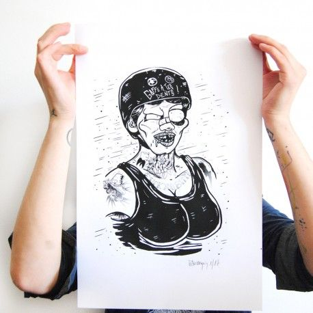 sérigraphie affiche tattoo roller derby  tattoo art disponible en vente sur bluerabbink.fr