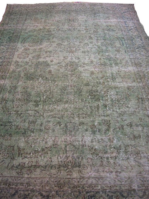 Pale Green Overdyed Rug by bazaarbayar on Etsy